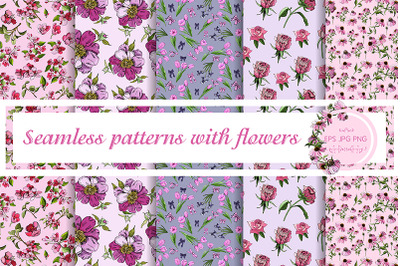 5 elegant floral vector seamless patterns.
