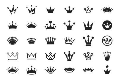 30 Crown icon set
