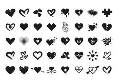 40 heart icon set