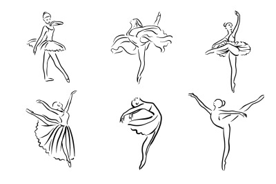 Ballerina illustration. Ballet logo set.