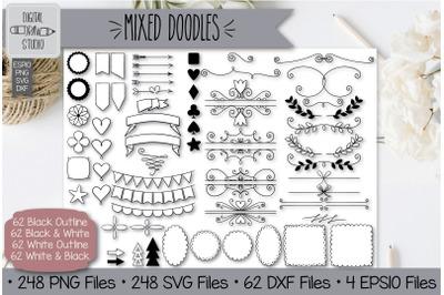 248 Mixed Doodles Hand Drawn Illustrations Bundle