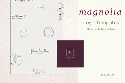 Magnolia, Pre-made logo Set of 24 logos