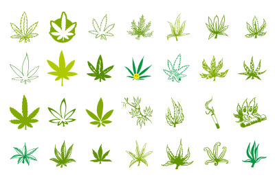 Medical marijuana or cannabis icons set.