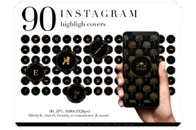 90 Black and Gold Instagram Story Highlight Covers