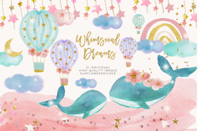 Baby Whales clipart, Moon and star clip art