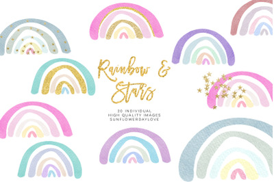 Watercolour Rainbow Clip Art, Watercolor Rainbow Clip Art