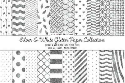 Silver and White Glitter Digital Papers