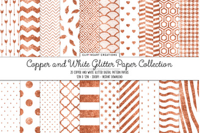 Copper and White Glitter Digital Papers