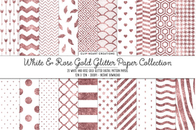 White and Rosegold White Glitter Digital Papers