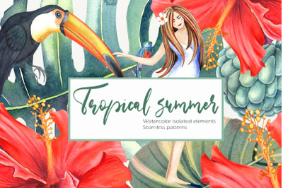 Watercolor Tropical Summer