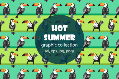Tropical hot summer. Seamless patterns and illustrations