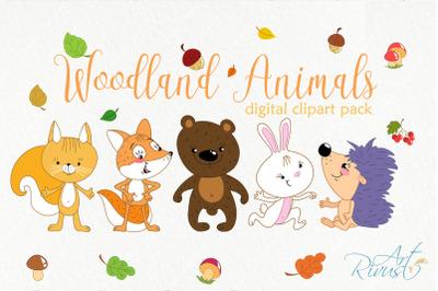 Forest friends clipart. Woodland cute animals clip art. Fox, bear