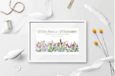 Wild flowers. Watercolor. Repetition of summer horizontal border.