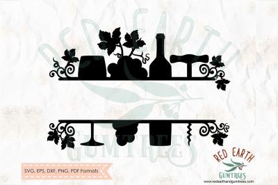 Wine split monogram frame decal SVG, PNG, EPS, DXF, PDF