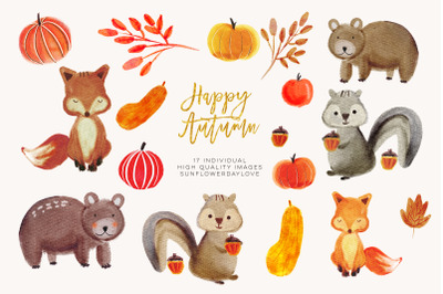 Watercolor forest animals clipart, autumn animal clip art