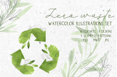 Zero waste. Watercolor illustrations set