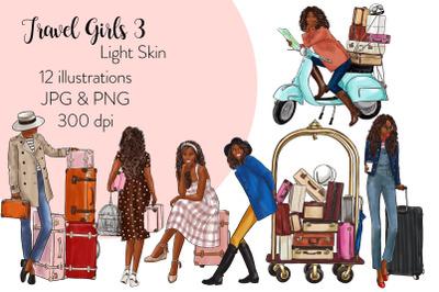 Watercolor Fashion Clipart - Travel Girls 3 - Dark Skin