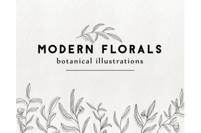 Modern floral illustration, doodle botanical graphics clipart elements