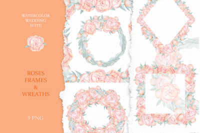 Wedding Roses frames and Wreaths