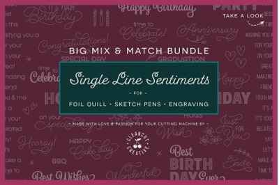 Foil Quill Mix & Match Sentiments Bundle | Single Line SVG DXF FCM EPS