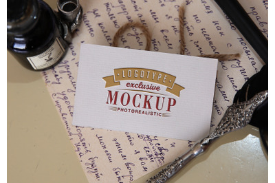 Photo Realistic Mock-ups Vintage style with vintage handwritten letter