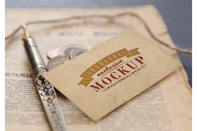 Photo Realistic Mock-ups Vintage style with coins and newspaper on bac