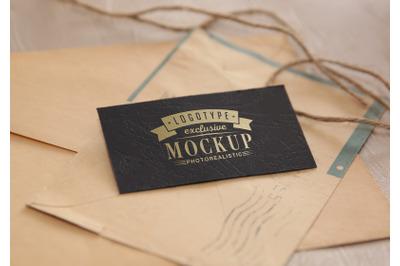Photo Realistic Mock-ups Vintage style on old envelopes background