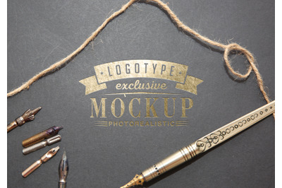 Photorealistic mock-ups with calligraphic equipment on background