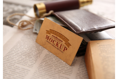 Photorealistic mock-ups with wallet and money  antique background