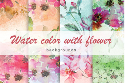 Water color with flower background Vol.7