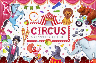 Circus watercolor cute clip art