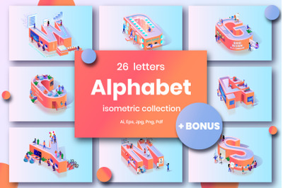 Red Alphabet Character Isometric
