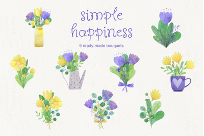 Simple happines. Set of watercolor bouquets