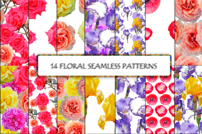 14 Seamless floral photo background.