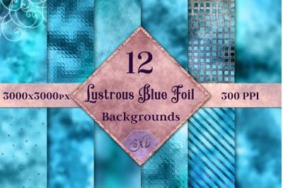 Lustrous Blue Foil Backgrounds - 12 Image Textures Set