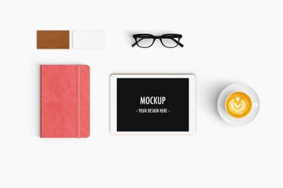 Modern workspace Mockup. Top view.