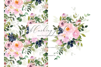 Romantic Watercolor Blush Floral Clipart Collection