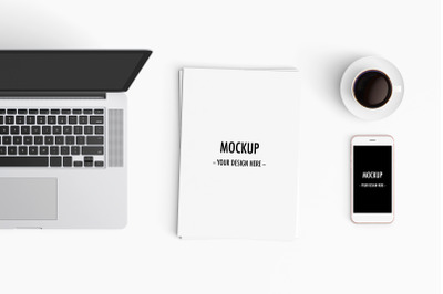 Modern workspace Mockup. Top view.