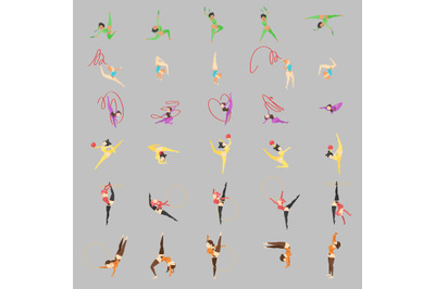 Women Aerobic Characters vector Isolated