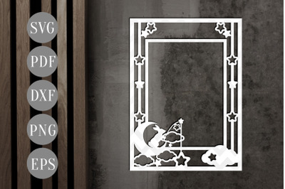 Potrait Photo Frame Papercut Template, Starry Night SVG, PDF