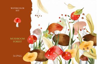 Watercolor Mushroom Forest
