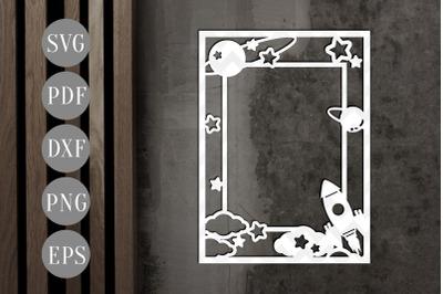 Rocket Potrait Photo Frame Papercut Template, Toddler Decor, SVG, PDF