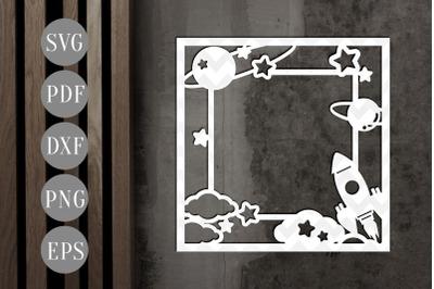 Rocket Space Square Photo Frame Papercut Template, SVG, PDF