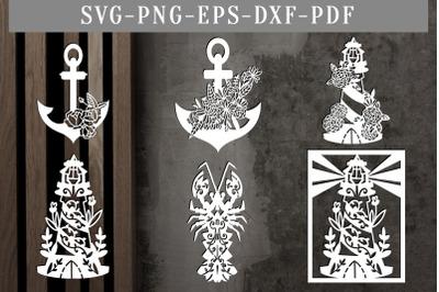Bundle Of 6 Summer Nautical Papercut Templates, SVG, PDF