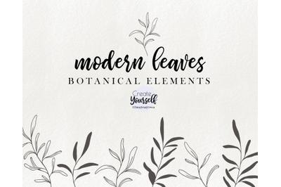Modern botanical illustrations - doodle branch clipart, floral element