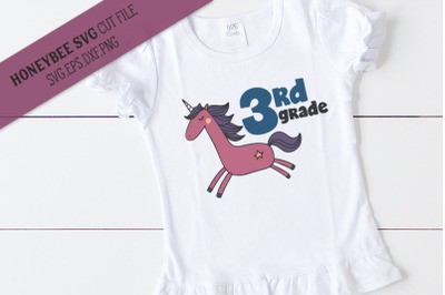 3rd Grade Unicorn SVG Cut File