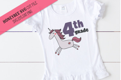 4th Grade Unicorn SVG Cut File