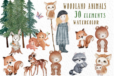 Forest Friends Woodland animals Cute Watercolor animals