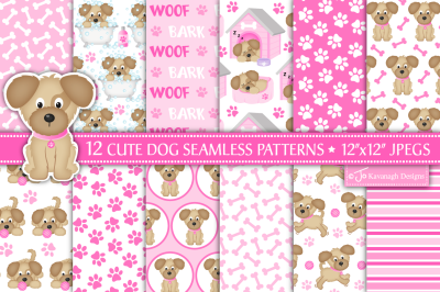 Cute dog digital paper, Dog patterns, Puppy dog -P41