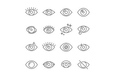 Black pictogram of eyesight or looking eye line icons. Eyeball, watch